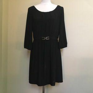 WHBM black blouson jersey long sleeve LBD dress M